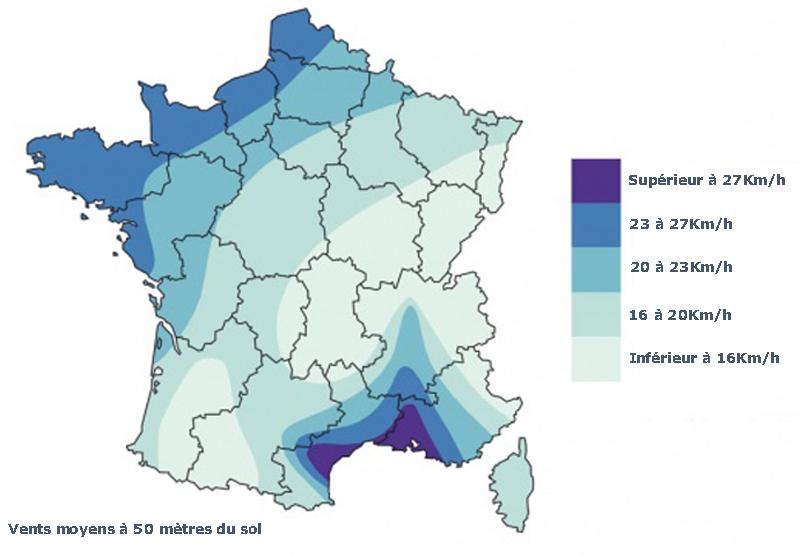 Vent moyen France